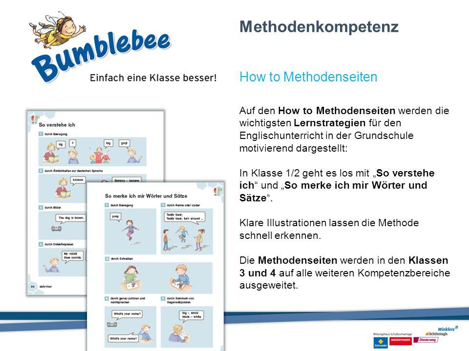 Auf den How to Methodenseiten werden die wichtigsten Lernstrategien für den Englischunterricht in der Grundschule motivierend dargestellt: In Klasse 1