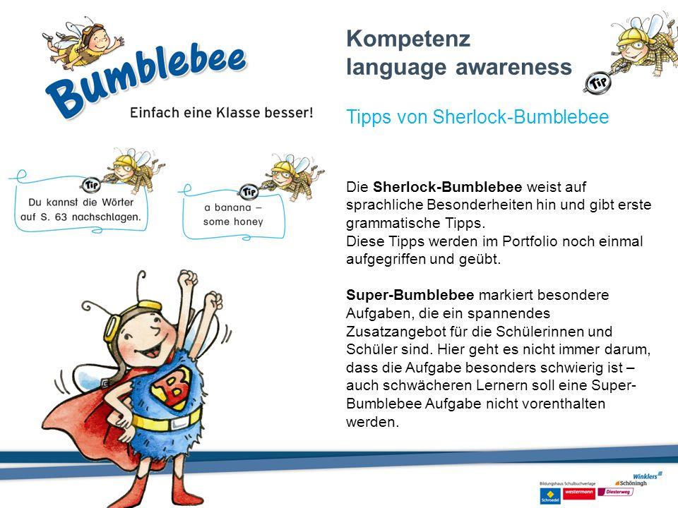 Die Sherlock-Bumblebee weist auf sprachliche Besonderheiten hin und gibt erste grammatische Tipps. Diese Tipps werden im Portfolio noch einmal aufgegr