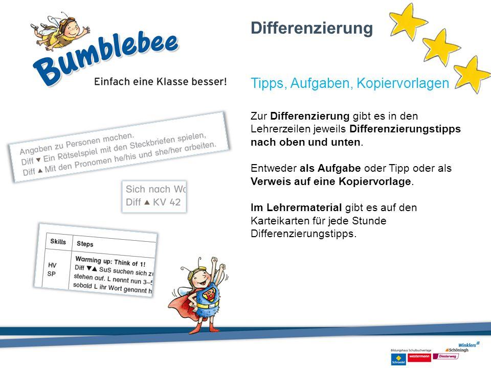 Zur Differenzierung gibt es in den Lehrerzeilen jeweils Differenzierungstipps nach oben und unten. Entweder als Aufgabe oder Tipp oder als Verweis auf