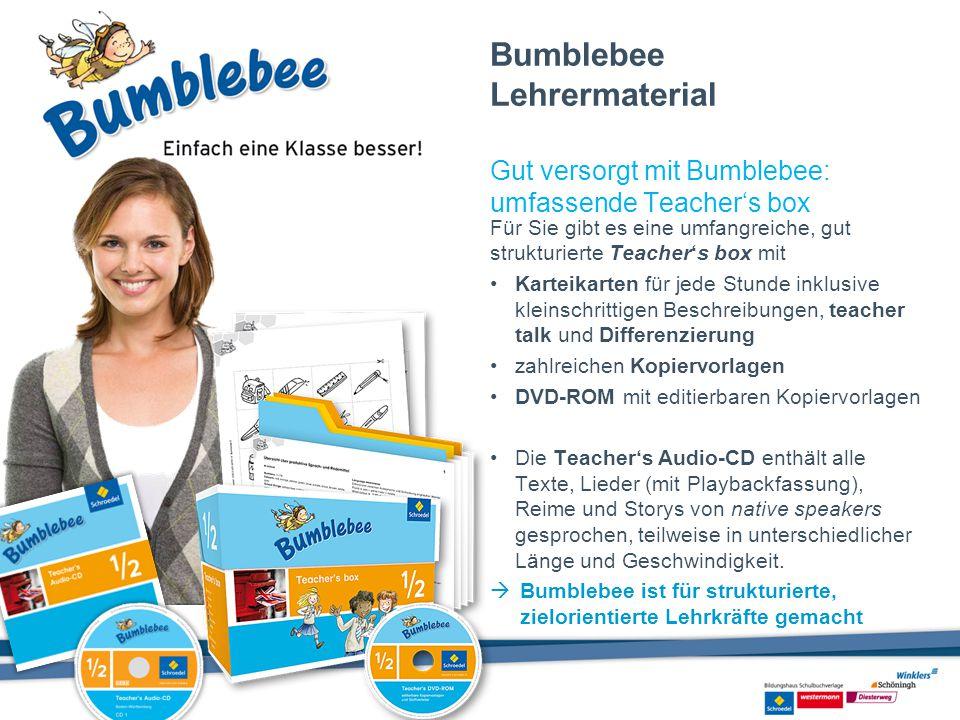 Bumblebee Lehrermaterial Gut versorgt mit Bumblebee: umfassende Teacher's box Für Sie gibt es eine umfangreiche, gut strukturierte Teacher's box mit K