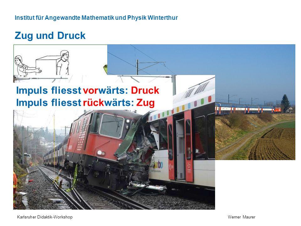 Institut für Angewandte Mathematik und Physik Winterthur Zug und Druck Karlsruher Didaktik-Workshop Werner Maurer www.tutorvista.com Impuls fliesst vorwärts: Druck Impuls fliesst rückwärts: Zug
