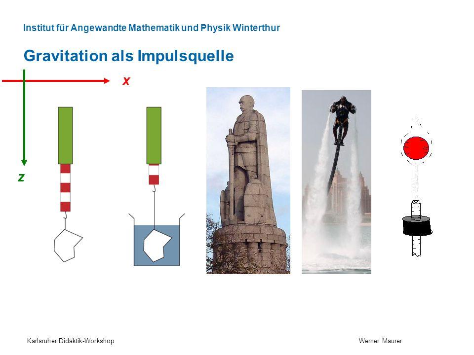 Institut für Angewandte Mathematik und Physik Winterthur Gravitation als Impulsquelle Karlsruher Didaktik-Workshop Werner Maurer x z