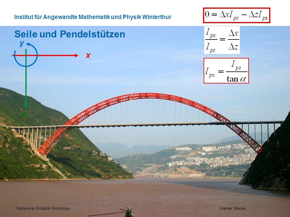 Institut für Angewandte Mathematik und Physik Winterthur Seile und Pendelstützen Karlsruher Didaktik-Workshop Werner Maurer x z y