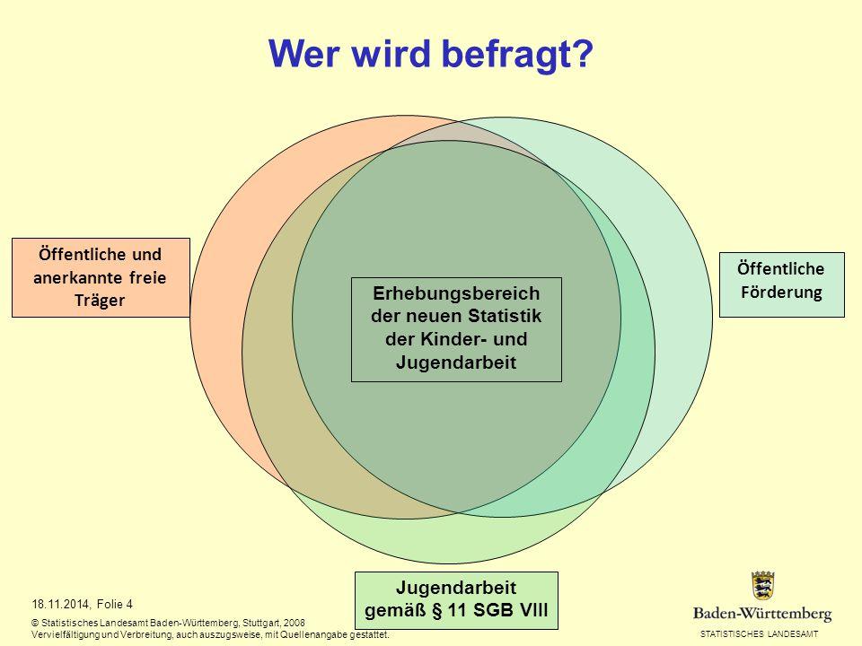 STATISTISCHES LANDESAMT Wer wird befragt? 18.11.2014, Folie 4 © Statistisches Landesamt Baden-Württemberg, Stuttgart, 2008 Vervielfältigung und Verbre