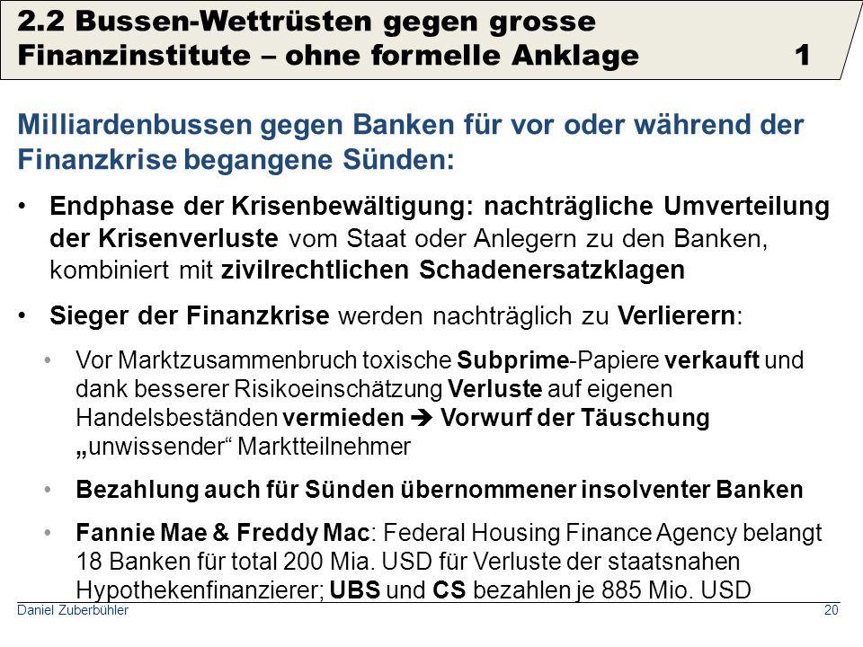 Daniel Zuberbühler20 Milliardenbussen gegen Banken für vor oder während der Finanzkrise begangene Sünden: Endphase der Krisenbewältigung: nachträglich