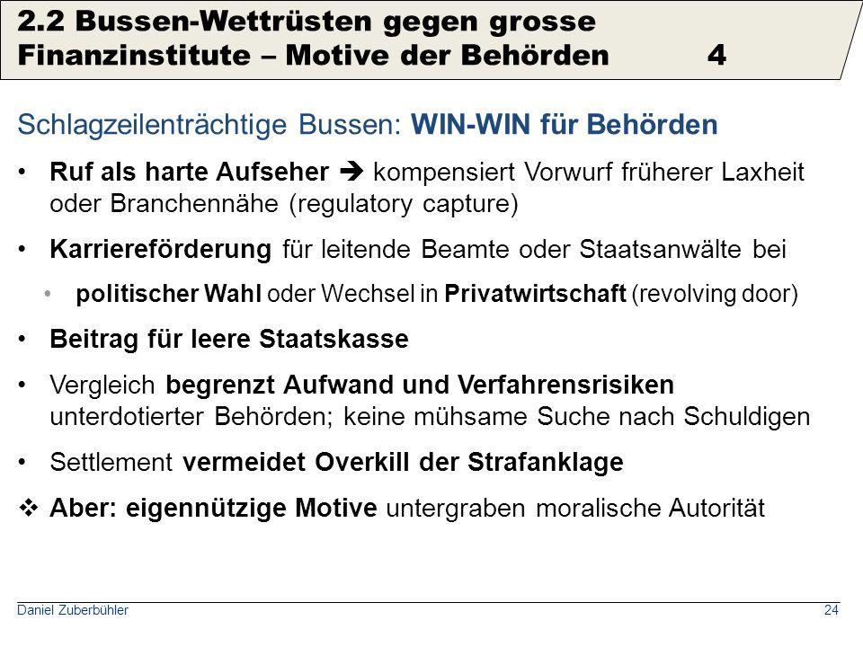 Daniel Zuberbühler24 Schlagzeilenträchtige Bussen: WIN-WIN für Behörden Ruf als harte Aufseher  kompensiert Vorwurf früherer Laxheit oder Branchennäh