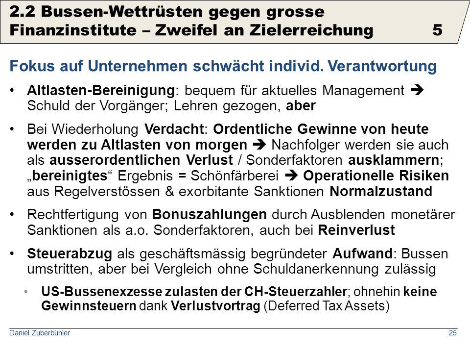 Daniel Zuberbühler25 Fokus auf Unternehmen schwächt individ. Verantwortung Altlasten-Bereinigung: bequem für aktuelles Management  Schuld der Vorgäng