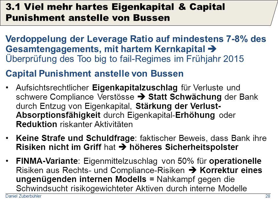 Daniel Zuberbühler28 Verdoppelung der Leverage Ratio auf mindestens 7-8% des Gesamtengagements, mit hartem Kernkapital  Überprüfung des Too big to fa