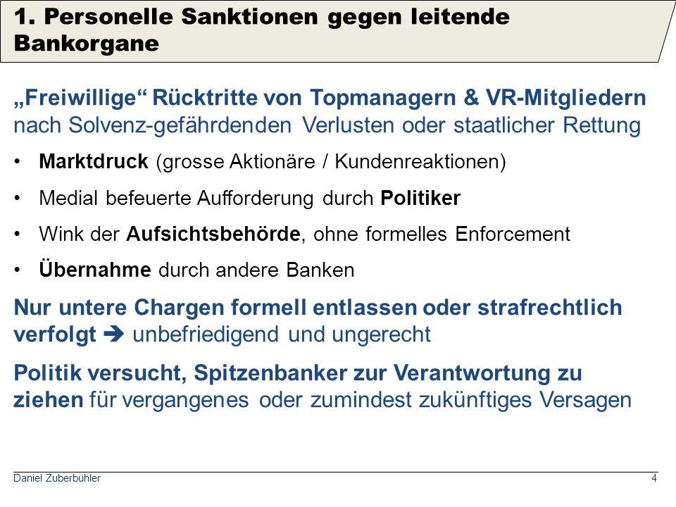 Daniel Zuberbühler15 CH-Unternehmensstrafrecht 102 StGB: symbolisch statt praxistauglich  wenigstens kein Overkill Beunruhigender: US-Strafklagen gegen Unternehmen sind existenzgefährdend.