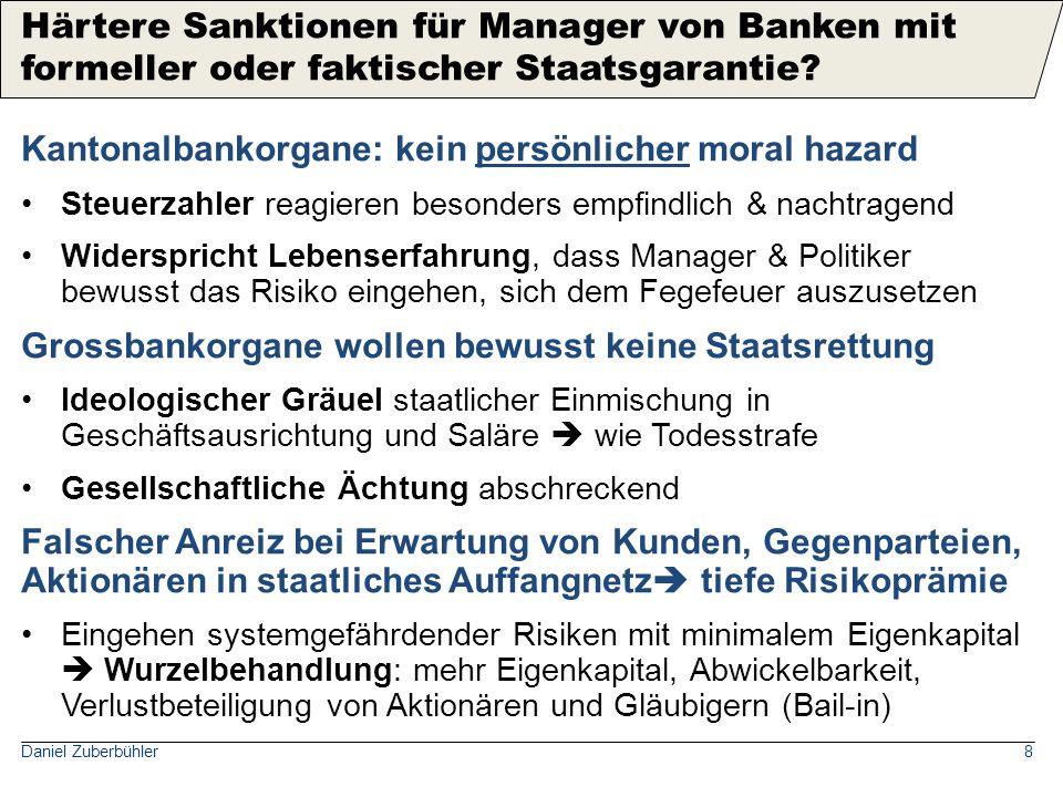 Daniel Zuberbühler8 Kantonalbankorgane: kein persönlicher moral hazard Steuerzahler reagieren besonders empfindlich & nachtragend Widerspricht Lebense