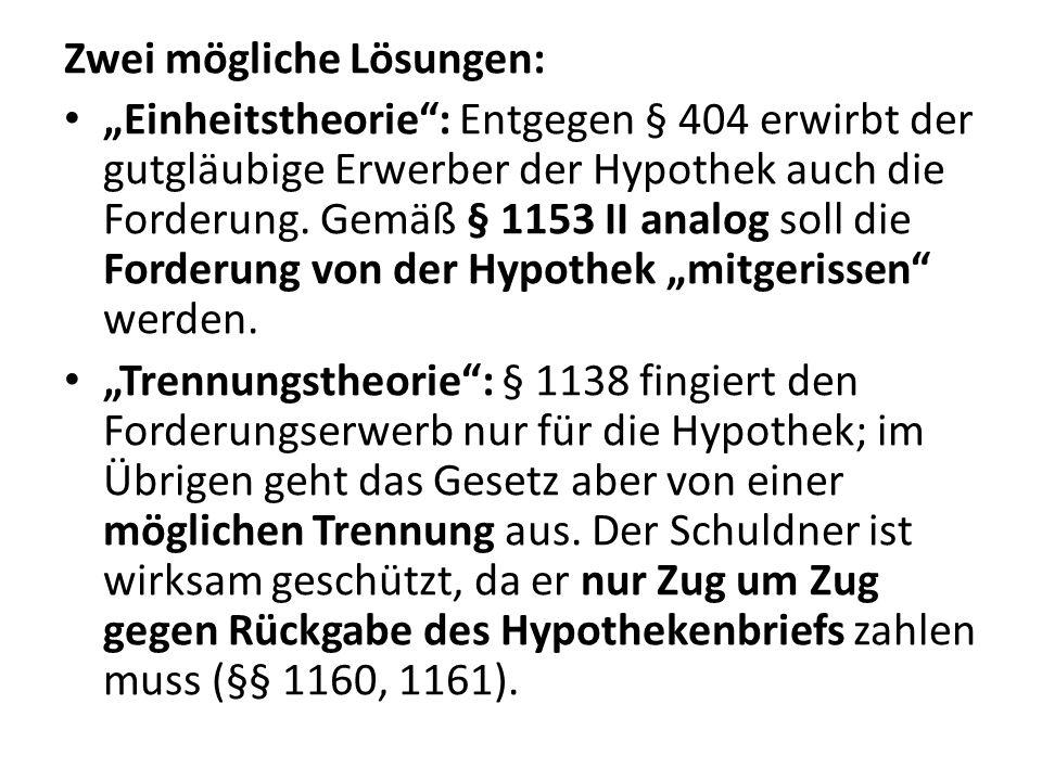 """Zwei mögliche Lösungen: """"Einheitstheorie"""": Entgegen § 404 erwirbt der gutgläubige Erwerber der Hypothek auch die Forderung. Gemäß § 1153 II analog sol"""
