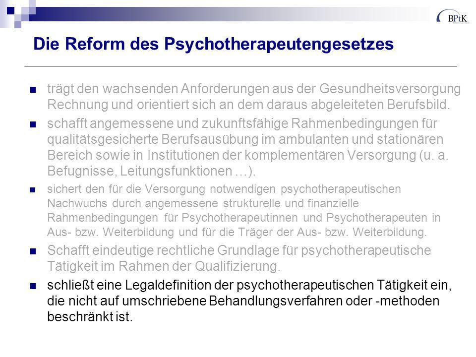 Die Reform des Psychotherapeutengesetzes trägt den wachsenden Anforderungen aus der Gesundheitsversorgung Rechnung und orientiert sich an dem daraus a