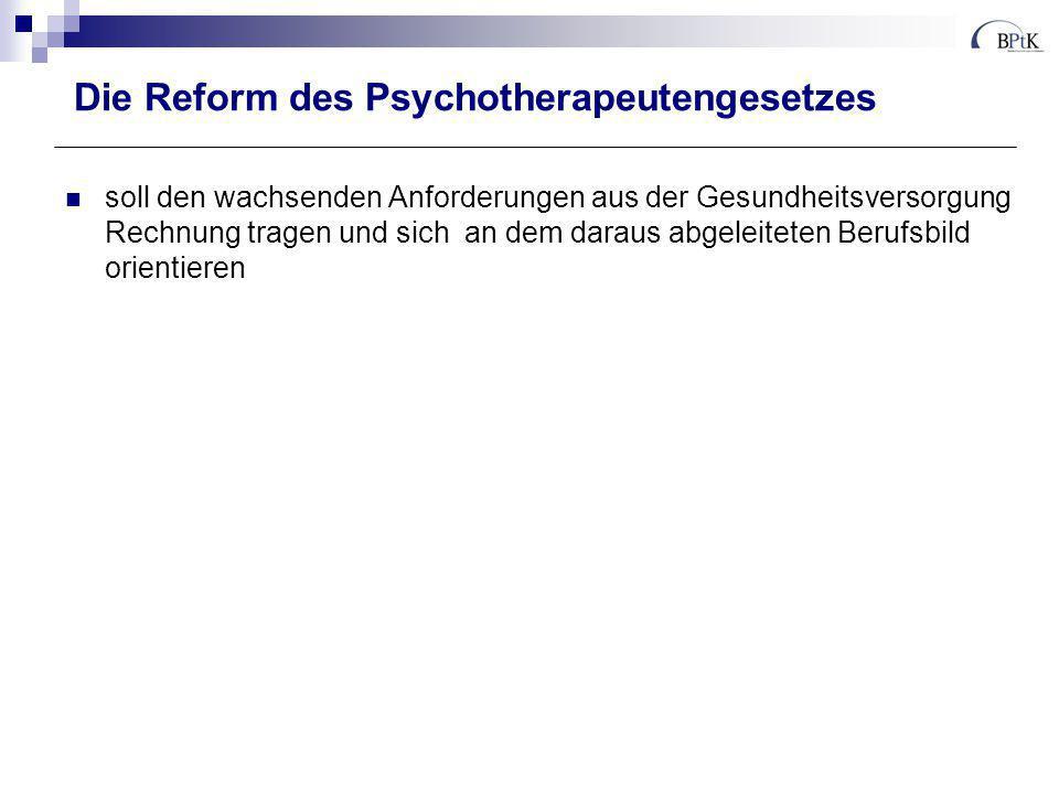 Die Reform des Psychotherapeutengesetzes soll den wachsenden Anforderungen aus der Gesundheitsversorgung Rechnung tragen und sich an dem daraus abgele