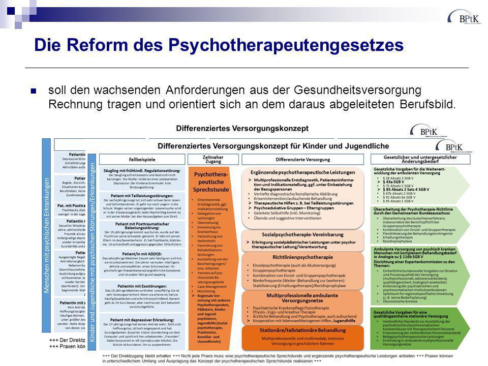Die Reform des Psychotherapeutengesetzes soll den wachsenden Anforderungen aus der Gesundheitsversorgung Rechnung und orientiert sich an dem daraus abgeleiteten Berufsbild.