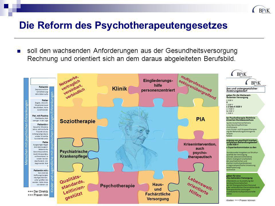 Die Reform des Psychotherapeutengesetzes soll den wachsenden Anforderungen aus der Gesundheitsversorgung Rechnung tragen und orientiert sich an dem daraus abgeleiteten Berufsbild.