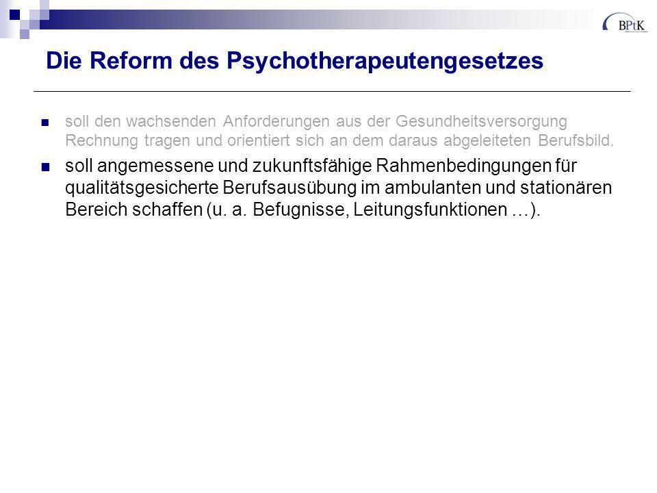 Die Reform des Psychotherapeutengesetzes trägt den wachsenden Anforderungen aus der Gesundheitsversorgung Rechnung und orientiert sich an dem daraus abgeleiteten Berufsbild.