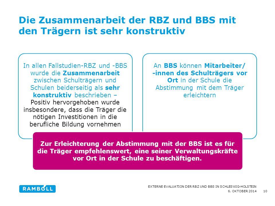 6. OKTOBER 2014 EXTERNE EVALUATION DER RBZ UND BBS IN SCHLESWIG-HOLSTEIN Die Zusammenarbeit der RBZ und BBS mit den Trägern ist sehr konstruktiv 10 In