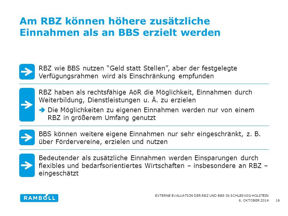 6. OKTOBER 2014 EXTERNE EVALUATION DER RBZ UND BBS IN SCHLESWIG-HOLSTEIN Am RBZ können höhere zusätzliche Einnahmen als an BBS erzielt werden 16 RBZ w
