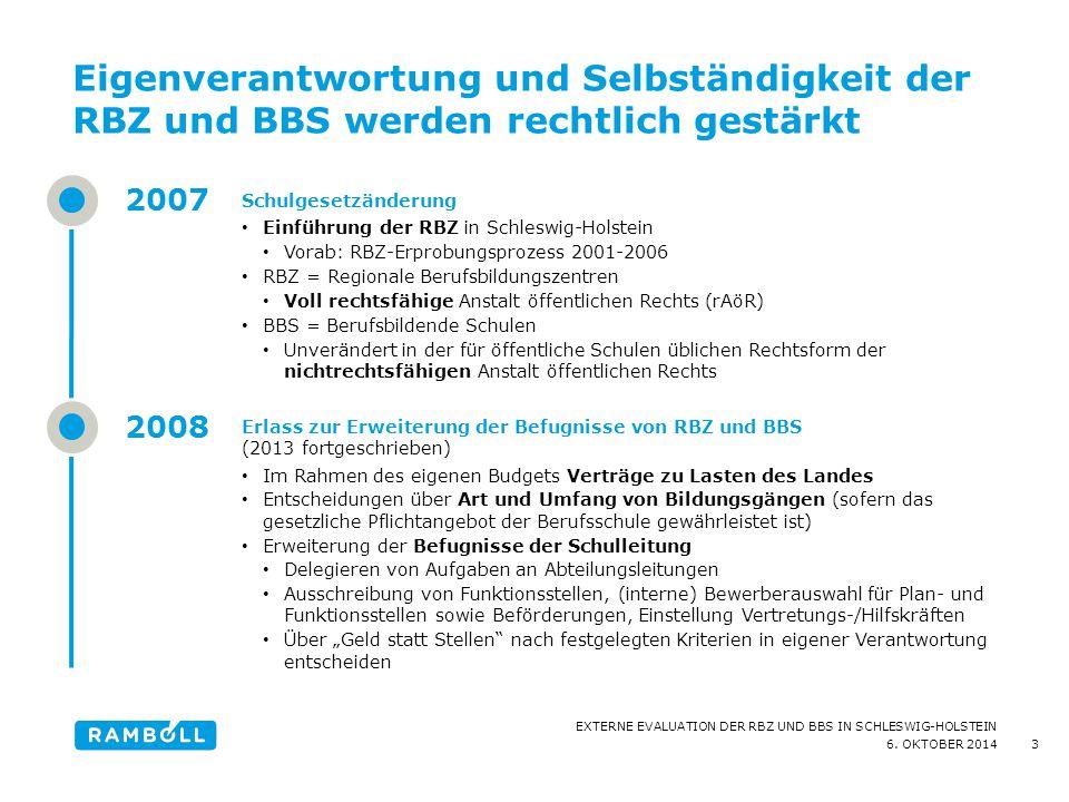 6. OKTOBER 2014 EXTERNE EVALUATION DER RBZ UND BBS IN SCHLESWIG-HOLSTEIN Eigenverantwortung und Selbständigkeit der RBZ und BBS werden rechtlich gestä