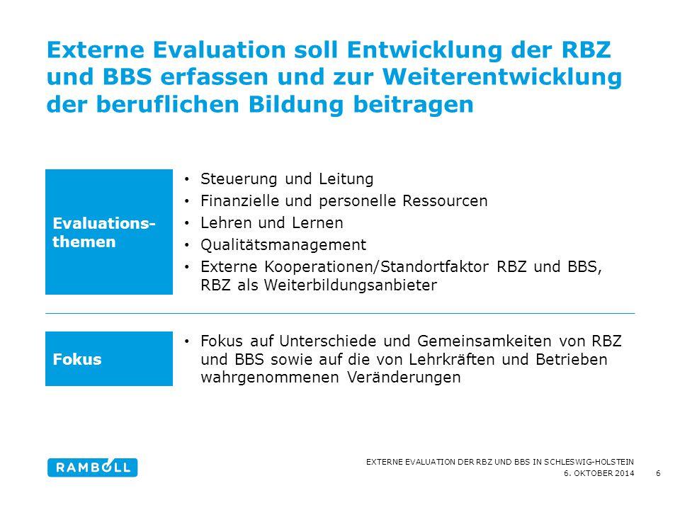6. OKTOBER 2014 EXTERNE EVALUATION DER RBZ UND BBS IN SCHLESWIG-HOLSTEIN Externe Evaluation soll Entwicklung der RBZ und BBS erfassen und zur Weiteren
