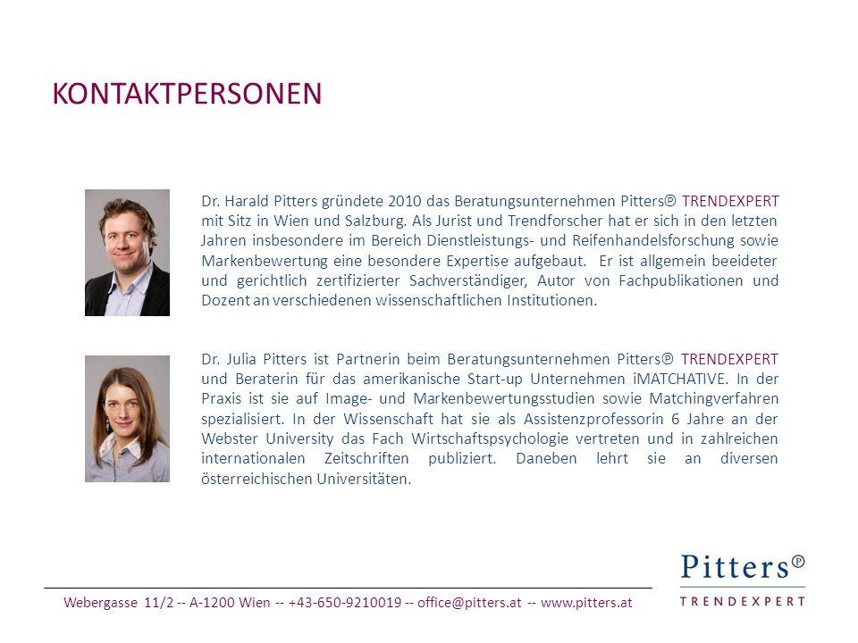 KONTAKTPERSONEN Dr. Harald Pitters gründete 2010 das Beratungsunternehmen Pitters℗ TRENDEXPERT mit Sitz in Wien und Salzburg. Als Jurist und Trendfors