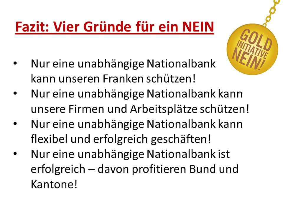 Fazit: Vier Gründe für ein NEIN Nur eine unabhängige Nationalbank kann unseren Franken schützen.