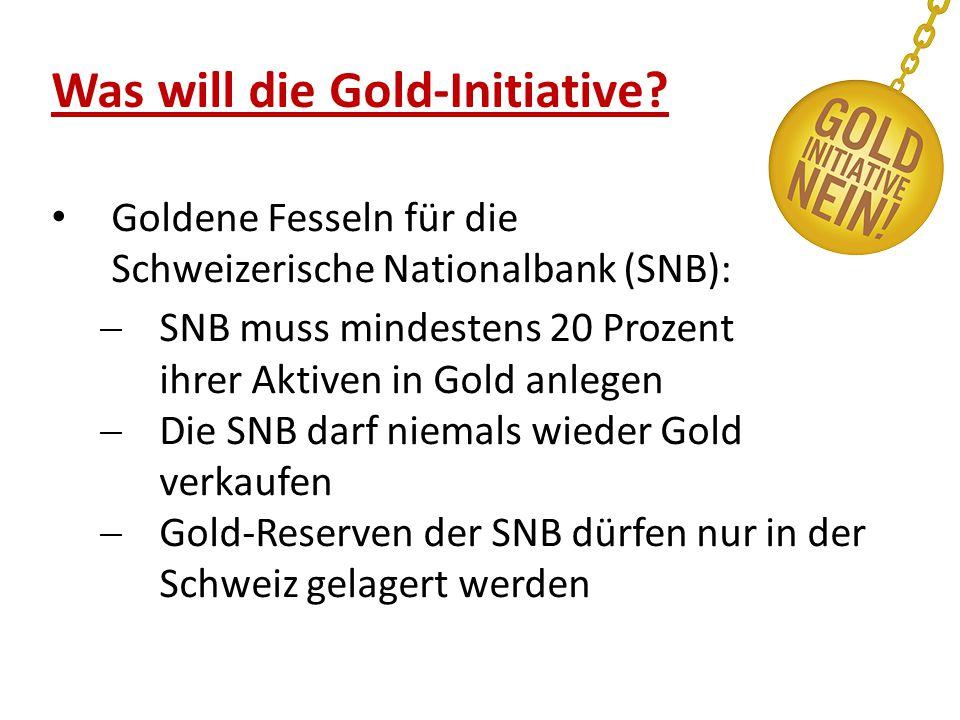 Was will die Gold-Initiative? Goldene Fesseln für die Schweizerische Nationalbank (SNB):  SNB muss mindestens 20 Prozent ihrer Aktiven in Gold anlege