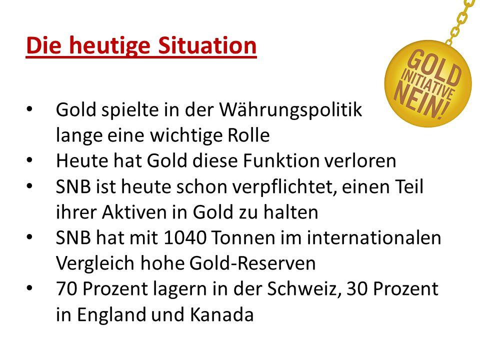 Die heutige Situation Gold spielte in der Währungspolitik lange eine wichtige Rolle Heute hat Gold diese Funktion verloren SNB ist heute schon verpflichtet, einen Teil ihrer Aktiven in Gold zu halten SNB hat mit 1040 Tonnen im internationalen Vergleich hohe Gold-Reserven 70 Prozent lagern in der Schweiz, 30 Prozent in England und Kanada