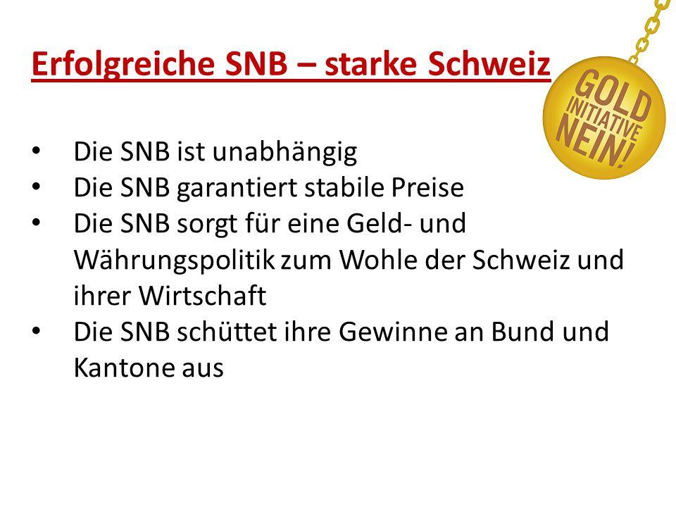 Erfolgreiche SNB – starke Schweiz Die SNB ist unabhängig Die SNB garantiert stabile Preise Die SNB sorgt für eine Geld- und Währungspolitik zum Wohle der Schweiz und ihrer Wirtschaft Die SNB schüttet ihre Gewinne an Bund und Kantone aus