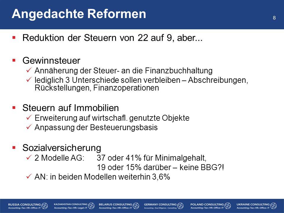 Angedachte Reformen  Einkommensteuer 6 Modelle: in verschiedenen Schritten (10), 15, 20, 25%  Administration der Steuern Reduktion der Anzahl zu erstellender Berichte p.a.