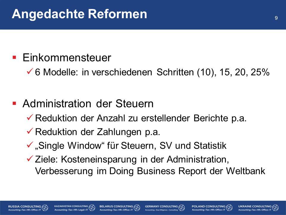 Angedachte Reformen  Einkommensteuer 6 Modelle: in verschiedenen Schritten (10), 15, 20, 25%  Administration der Steuern Reduktion der Anzahl zu ers