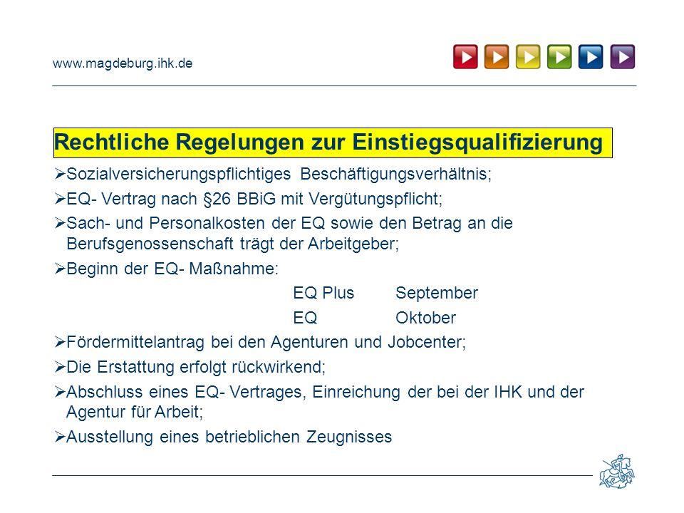 www.magdeburg.ihk.de Rechtliche Regelungen zur Einstiegsqualifizierung  Sozialversicherungspflichtiges Beschäftigungsverhältnis;  EQ- Vertrag nach §