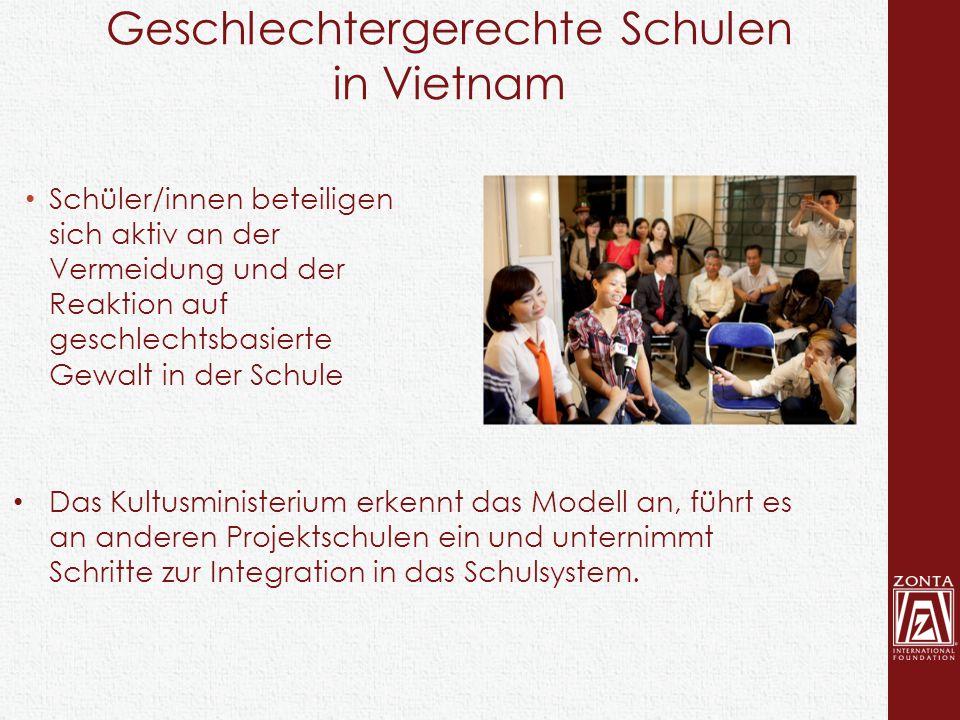 Schüler/innen beteiligen sich aktiv an der Vermeidung und der Reaktion auf geschlechtsbasierte Gewalt in der Schule Das Kultusministerium erkennt das