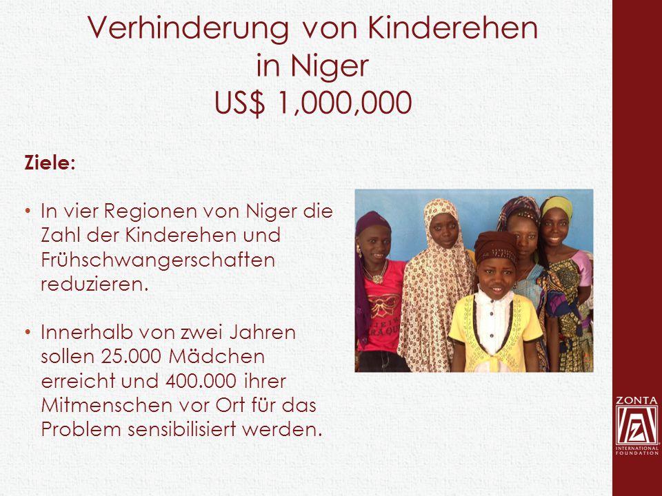 Verhinderung von Kinderehen in Niger US$ 1,000,000 Ziele: In vier Regionen von Niger die Zahl der Kinderehen und Frühschwangerschaften reduzieren. Inn