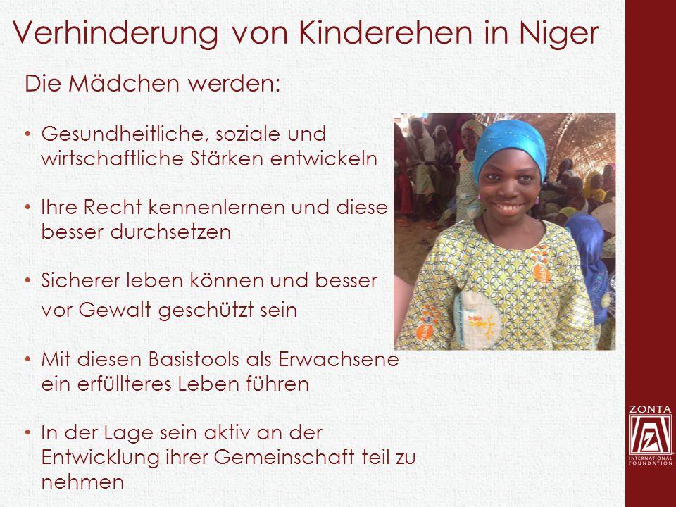 Verhinderung von Kinderehen in Niger Die Mädchen werden: Gesundheitliche, soziale und wirtschaftliche Stärken entwickeln Ihre Recht kennenlernen und d