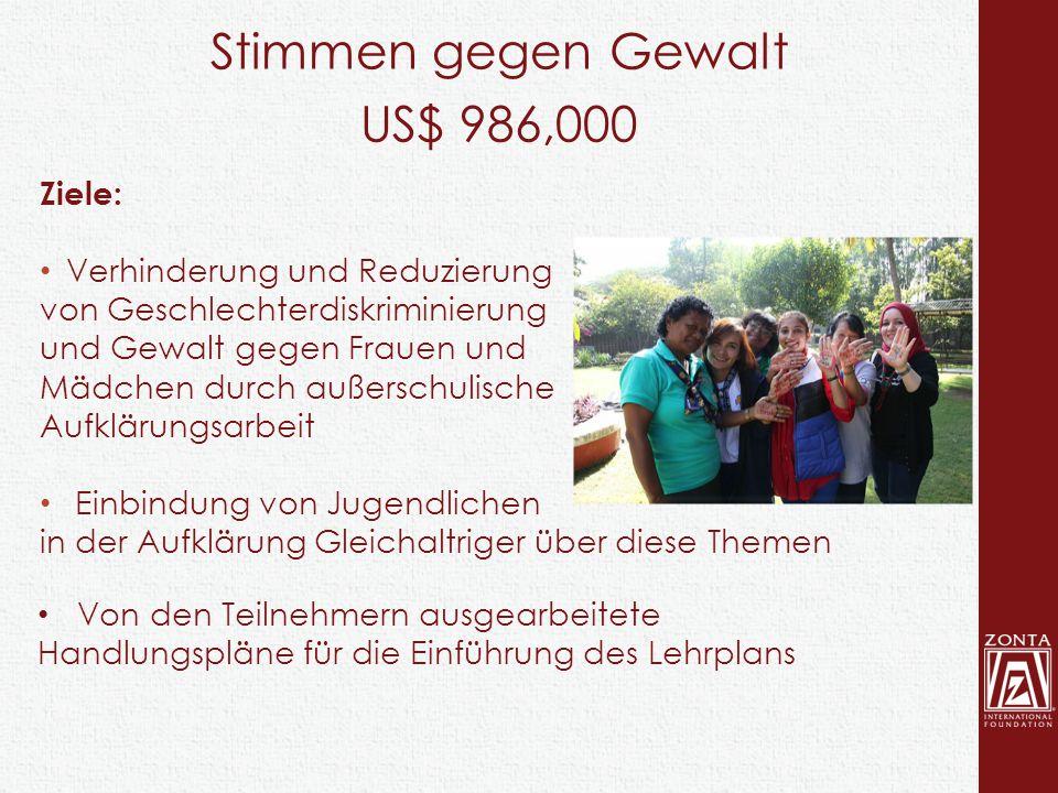 Stimmen gegen Gewalt US$ 986,000 Ziele: Verhinderung und Reduzierung von Geschlechterdiskriminierung und Gewalt gegen Frauen und Mädchen durch außersc