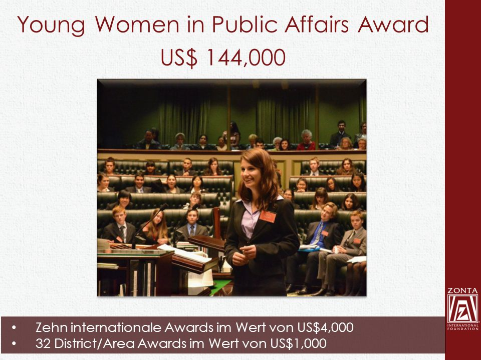 Young Women in Public Affairs Award US$ 144,000 Zehn internationale Awards im Wert von US$4,000 32 District/Area Awards im Wert von US$1,000
