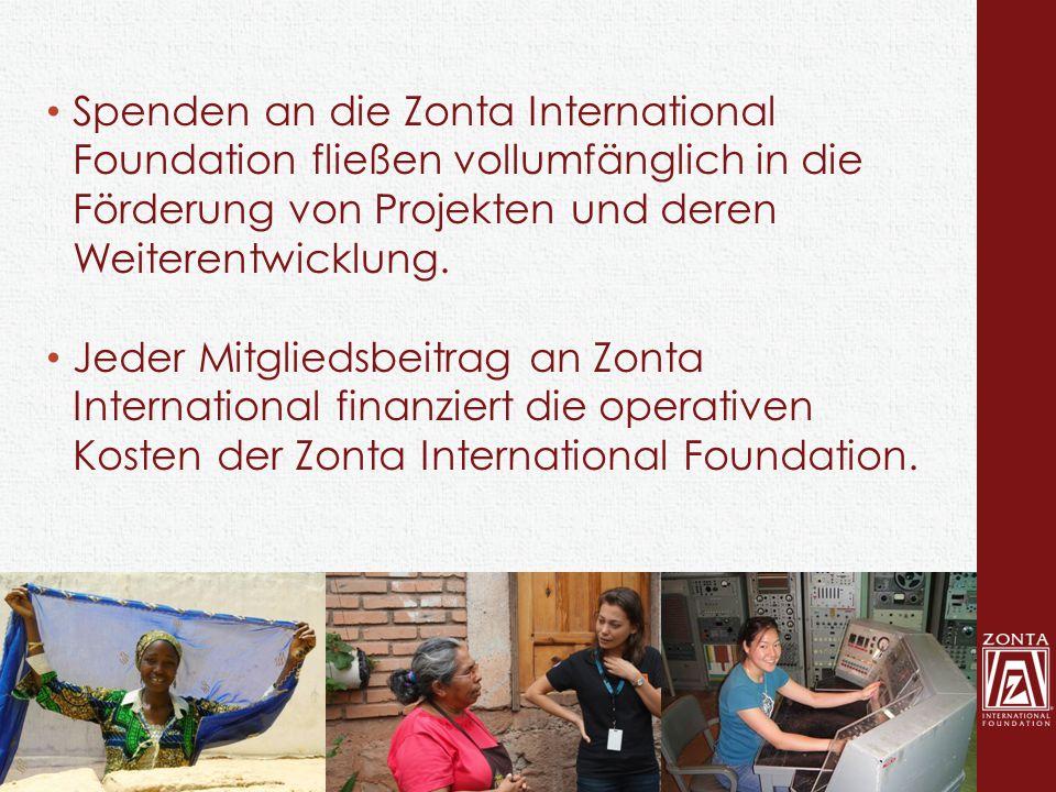 Spenden an die Zonta International Foundation fließen vollumfänglich in die Förderung von Projekten und deren Weiterentwicklung. Jeder Mitgliedsbeitra