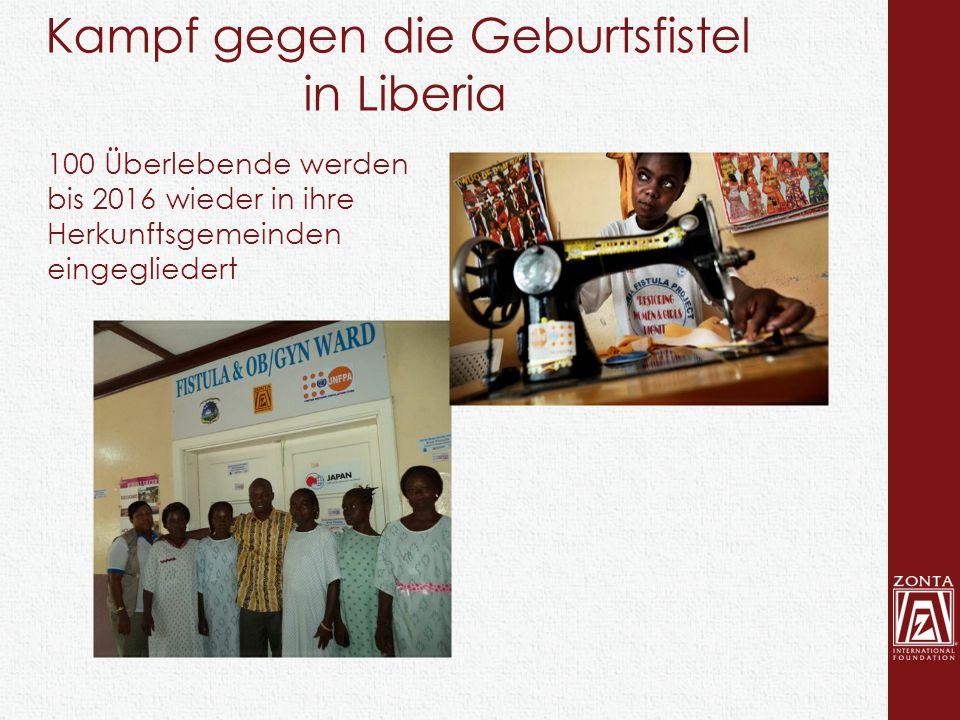 100 Überlebende werden bis 2016 wieder in ihre Herkunftsgemeinden eingegliedert Kampf gegen die Geburtsfistel in Liberia