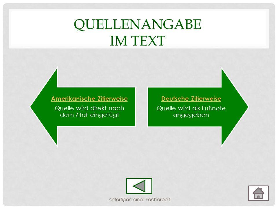 Amerikanische Zitierweise Quelle wird direkt nach dem Zitat eingefügt Deutsche Zitierweise Quelle wird als Fußnote angegeben QUELLENANGABE IM TEXT Anf