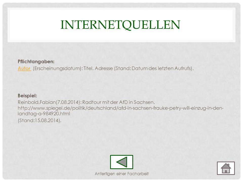 INTERNETQUELLEN Pflichtangaben: Autor Autor (Erscheinungsdatum): Titel. Adresse (Stand: Datum des letzten Aufrufs). Beispiel: Reinbold,Fabian(7.08.201