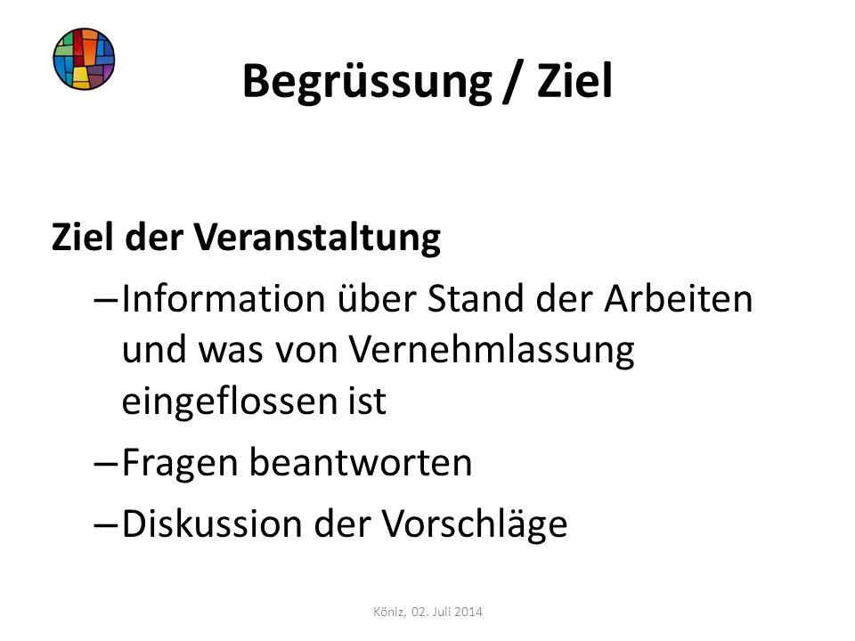 Begrüssung / Ziel Ziel der Veranstaltung – Information über Stand der Arbeiten und was von Vernehmlassung eingeflossen ist – Fragen beantworten – Disk