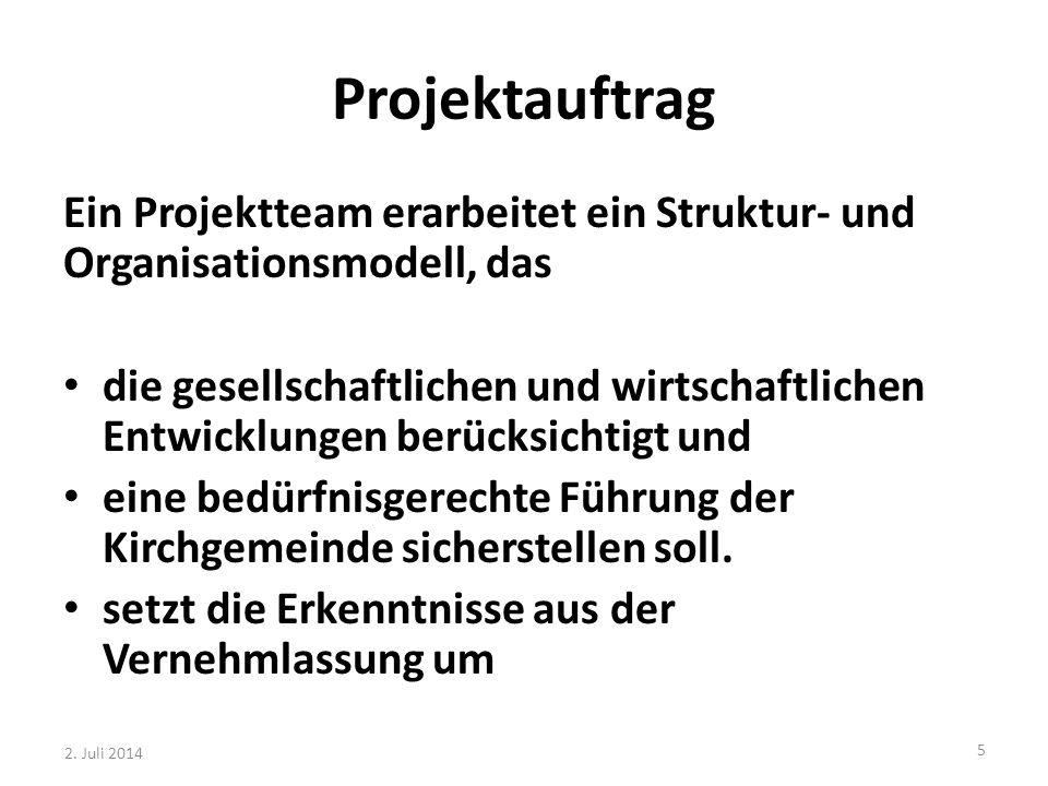 Projektauftrag Ein Projektteam erarbeitet ein Struktur- und Organisationsmodell, das die gesellschaftlichen und wirtschaftlichen Entwicklungen berücks