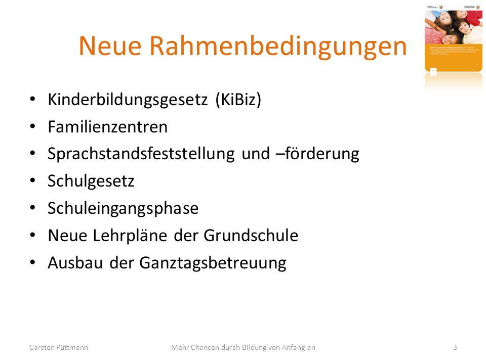 Neue Rahmenbedingungen Kinderbildungsgesetz (KiBiz) Familienzentren Sprachstandsfeststellung und –förderung Schulgesetz Schuleingangsphase Neue Lehrpl