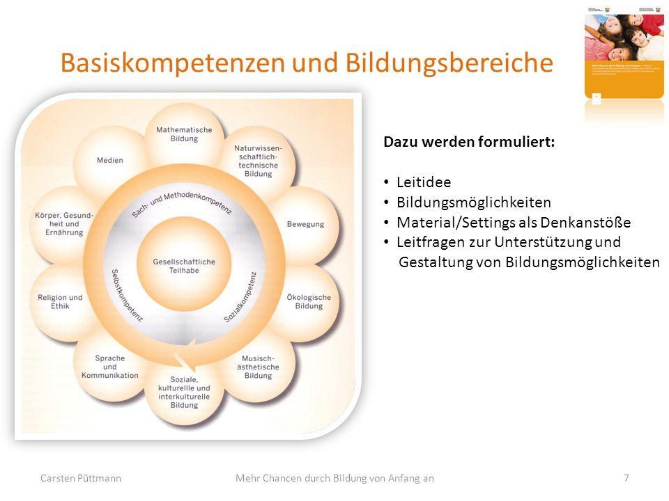 Basiskompetenzen und Bildungsbereiche Carsten Püttmann7Mehr Chancen durch Bildung von Anfang an Dazu werden formuliert: Leitidee Bildungsmöglichkeiten