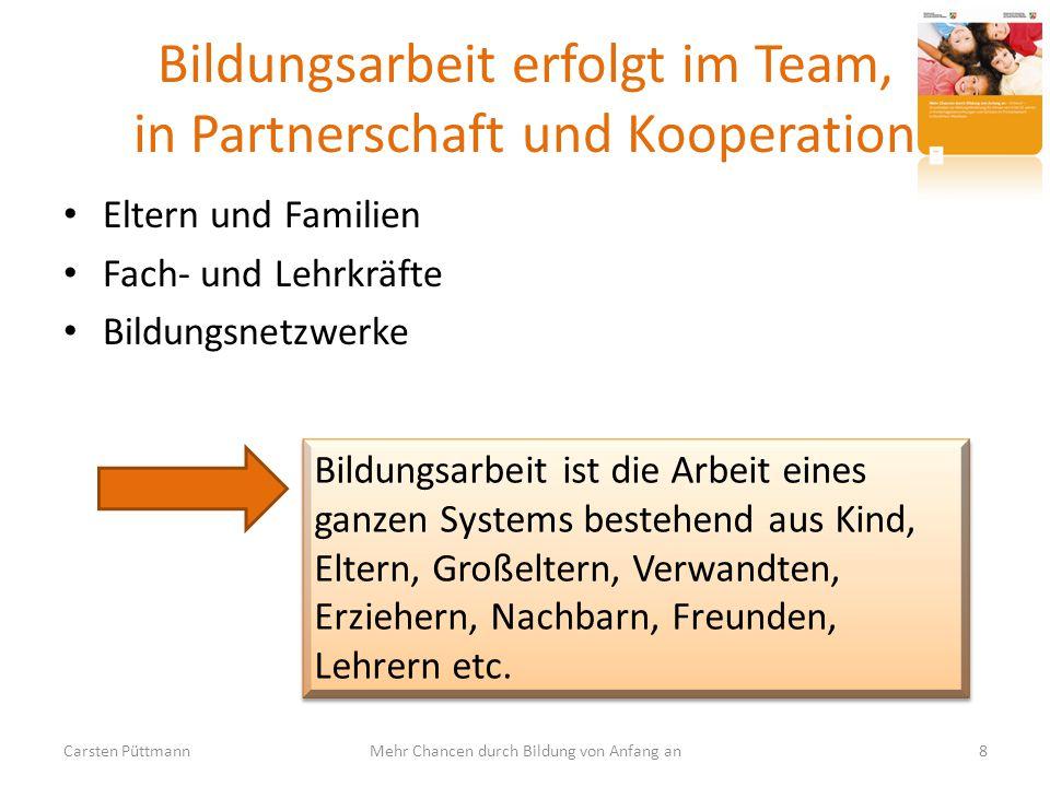 Bildungsarbeit erfolgt im Team, in Partnerschaft und Kooperation Eltern und Familien Fach- und Lehrkräfte Bildungsnetzwerke Carsten Püttmann8Mehr Chan