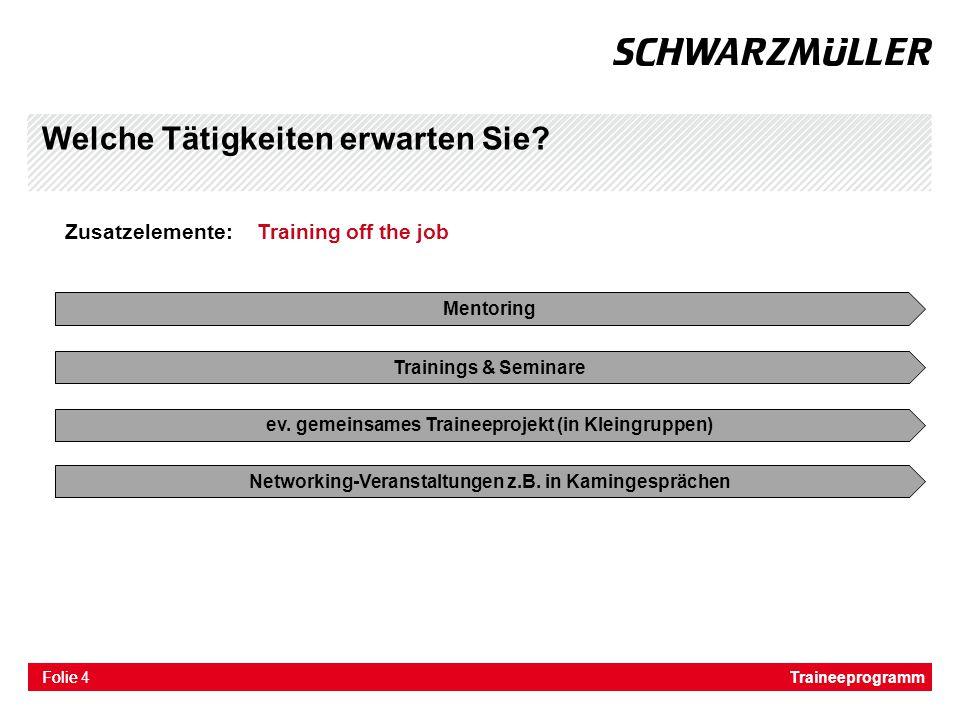 Folie Welche Tätigkeiten erwarten Sie? Zusatzelemente: Training off the job Mentoring Trainings & Seminare ev. gemeinsames Traineeprojekt (in Kleingru