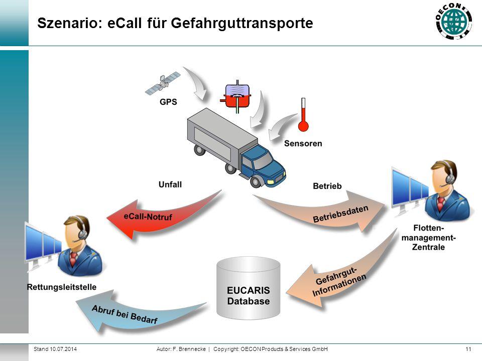 Autor: F. Brennecke | Copyright: OECON Products & Services GmbHStand 10.07.2014 Szenario: eCall für Gefahrguttransporte 11