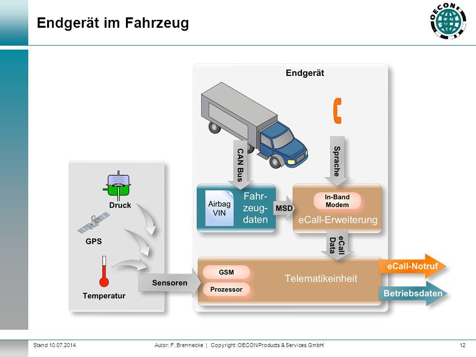 Autor: F. Brennecke | Copyright: OECON Products & Services GmbHStand 10.07.2014 Endgerät im Fahrzeug 12