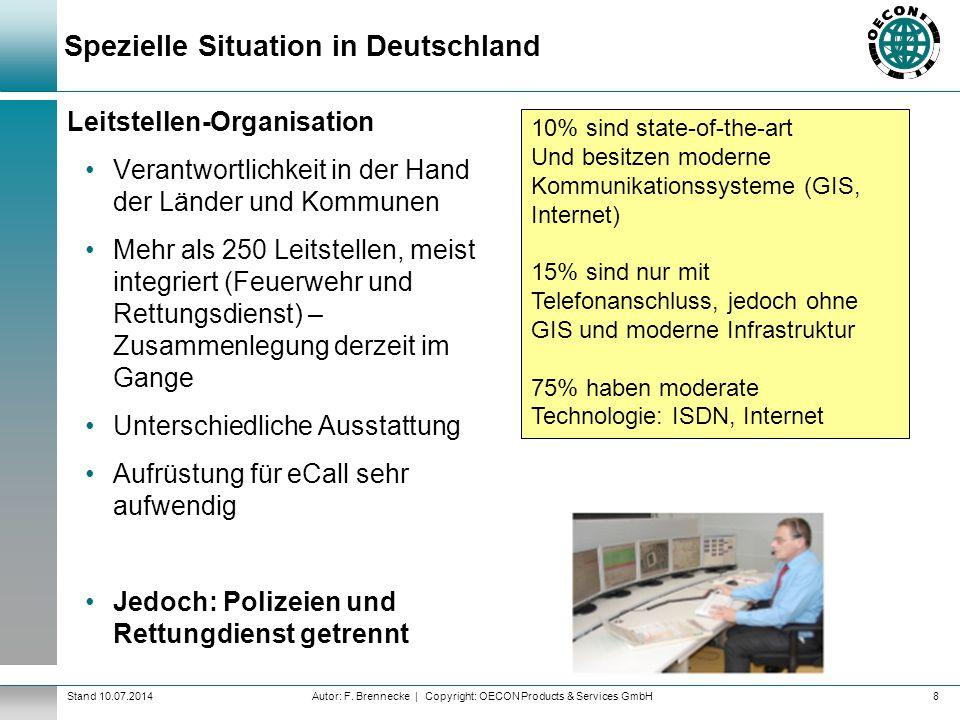 Autor: F. Brennecke | Copyright: OECON Products & Services GmbHStand 10.07.2014 Spezielle Situation in Deutschland Leitstellen-Organisation Verantwort